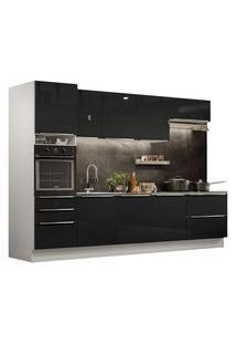 Cozinha Completa Madesa Lux 320004 Com Armário E Balcão Branco/Preto Cor:Branco/Preto