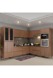 Cozinha Completa 19 Portas 4 Gavetas 5461Mf Nogueira/Malt - Multimóveis