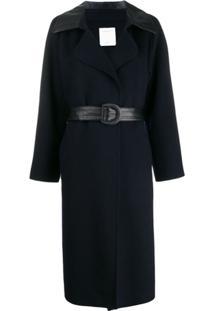 Sandro Paris Trench Coat Com Recorte Contrastante - Azul