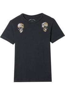 Camiseta John John Rx Twin Skulls Malha Preto Masculina (Preto, P)