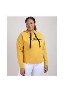 Blusão De Moletom Feminino Plus Size Disney Com Capuz Mostarda