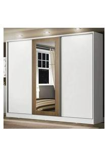Guarda Roupa Casal 100% Mdf Madesa Eros 3 Portas De Correr Com Espelho Branco/Branco/Rustic Branco