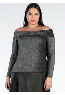 Blusa Plus Size Preta Com Brilho Ombro A Ombro