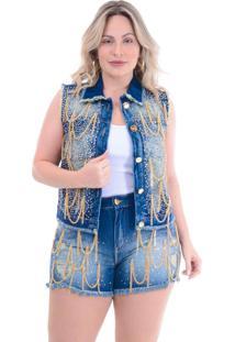 Colete Jeans Plus Size Dourado: Azul: 46