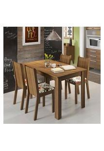 Conjunto Sala De Jantar Rosie Madesa Mesa Tampo De Madeira Com 4 Cadeiras Marrom