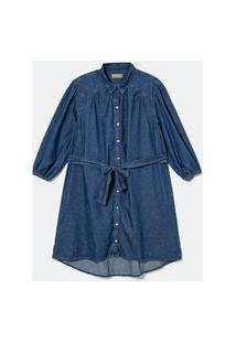 Vestido Chemise Jeans Com Cinto Faixa Curve & Plus Size Azul