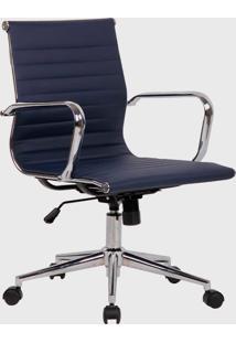 Cadeira Office Sevilha Alta Pu Azul-Marinho - Azul Marinho - Dafiti