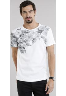 Camiseta Masculina Slim Fit Com Estampa Floral Em Piquet Manga Curta Decote Careca Off White