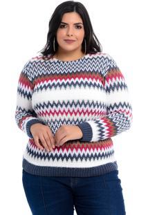 Blusa Suéter Dianna Plus Size Colors Chevron