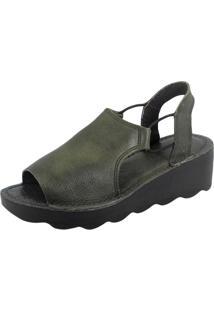 Sandália S2 Shoes Anabela Couro Verde