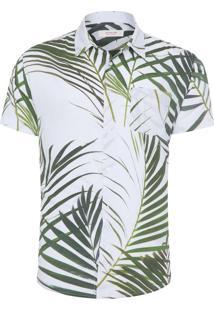 Camisa Masculina Palm Leaf - Branco E Verde