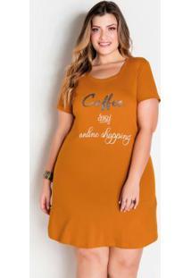 T-Shirt Dress Caramelo Com Estampa Frontal