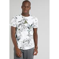 02108ecdbc531 Camiseta Masculina Estampada Floral Manga Curta Gola Careca Off White