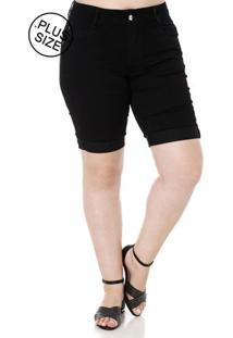 Bermuda Sarja Plus Size Feminina Amuage Preto