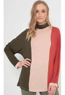 Blusa Em Tricô Com Recortes - Verde Militar & Vermelhamorena Rosa