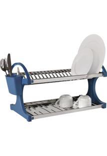 Escorredor Inox 20 Pratos 28X52X30 Cm Azul
