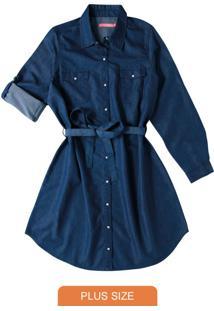 Vestido Azul Escuro Curto Light Denim
