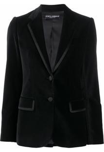 Dolce & Gabbana Blazer De Veludo E Acabamento Em Seda - Preto