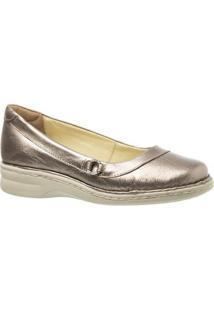 Sapatilha Couro 221 Metalizado Metalic Doctor Shoes Feminina - Feminino-Cinza