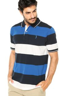 Camisa Polo Aleatory Tricolor Branca/Azul