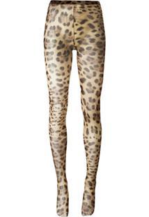Dolce & Gabbana Meia Calça Com Estampa Leopardo - Neutro