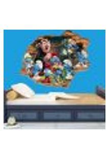Adesivo De Parede Buraco Falso 3D Infantil Smurfs - G 82X100Cm