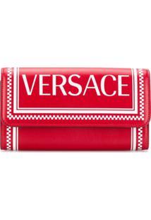 Versace Carteira 90'S Com Logo - Vermelho