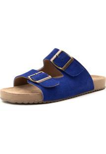 Sandália Birken Rasteira Em Couro Azul Tellini Store