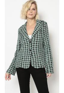 Blazer Tweed- Preto & Verde Claro- Cotton Colors Extcotton Colors Extra