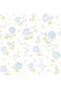 Papel De Parede Coleção Bambinos Azul Branco Flores 3363 Bobinex