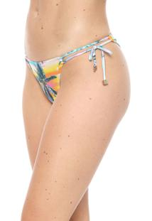 Calcinha Alto Giro String Tropical Verde/Rosa