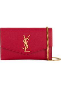 Saint Laurent Monogram Envelope Clutch Bag - Vermelho