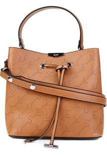 Bolsa Ellus Saco Bucket Bag Monograma Feminina - Feminino-Cáqui