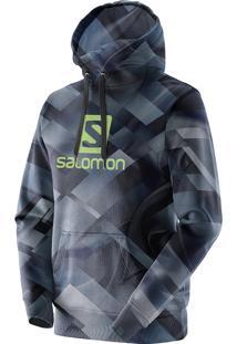 Blusa Masculina Salomon Logo Hoodie Graphic Violeta Print Tam. G