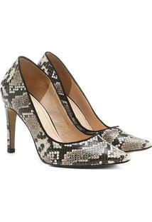 Scarpin Couro Shoestock Bico Fino Cobra - Feminino-Cobra