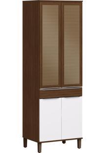 Armário De Cozinha 4 Portas Com Pés 0,70 M Cs606P Cacau/Branco - Decibal Móveis