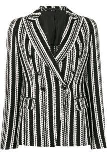 Tagliatore Striped Monochrome Blazer - Preto