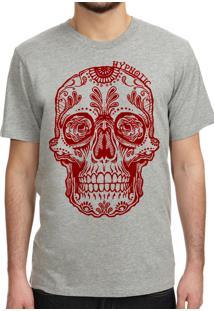 Camiseta Hypnotic Caveira Mexicana Cinza Mescla