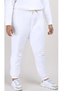 Calça De Moletom Feminina Plus Size Mindset Jogger Cintura Alta Off White