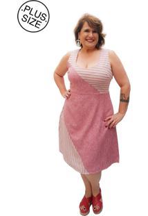32874047f R$ 267,60. Tricae Vestido Listras Liso Vermelho Plus Size ...