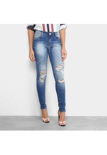 Calça Jeans Skinny Destroyed Lança Perfume Cintura Média Feminina - Feminino-Jeans
