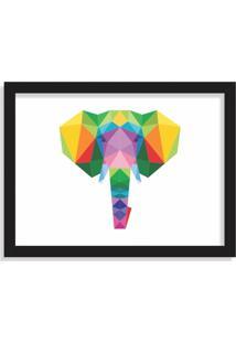 Quadro Decorativo Elefante Abstrato Colorido Preto - Grande