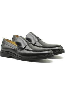 Sapato Social Couro Adolfo Turrion Confort Liso Masculino - Masculino-Preto