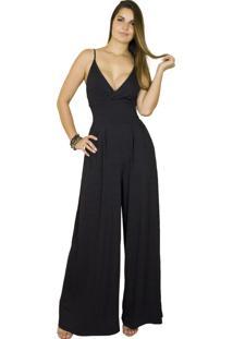 Macacão Dress Code Moda Pantalona Preto - Kanui