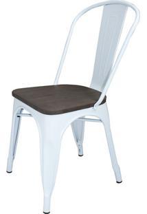 Cadeira Iron Tolix Sem Braco Cor Branca Assento Madeira - 43718 - Sun House