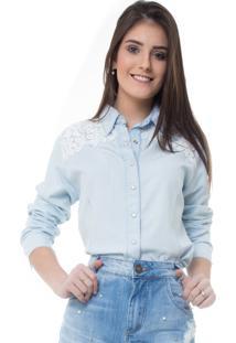 Camisa Rosa Line Jeans Com Pala De Guipir E Pérolas