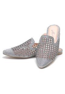 Sapatilha Mulle Bico Fino Sb Shoes Ref.10106L Prata Velha