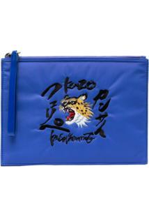 Kenzo Clutch Com Estampa De Tigre - Azul
