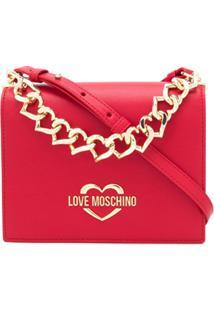 Love Moschino Bolsa Transversal Vermelha Com Placa De Logo E Aplicação De Corrente - Vermelho