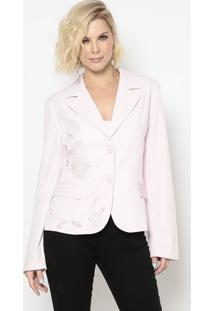 Blazer Bordado- Rosa Claro & Off White- Cotton Colorcotton Colors Extra